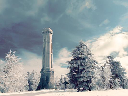 Une tour blanche au milieu des arbres sous un ciel bleu