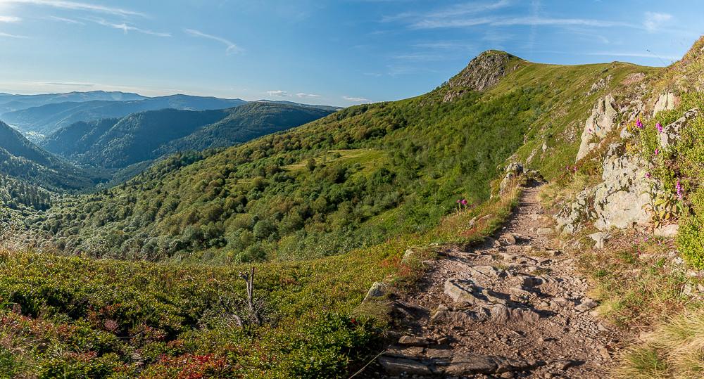sommet de montagne et vallées verdoyantes