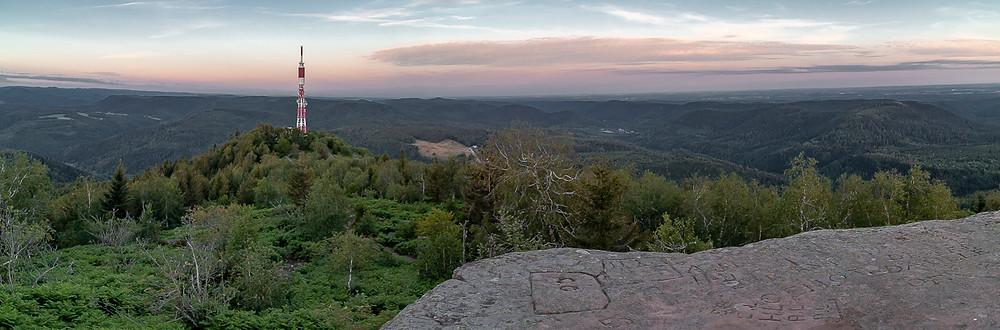 panorama de forêt et collines boisées d'où émerge une tour hertzienne.