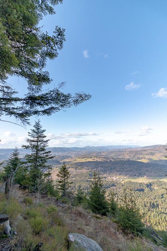 paysage boisé de vallées et villages depuis une coline