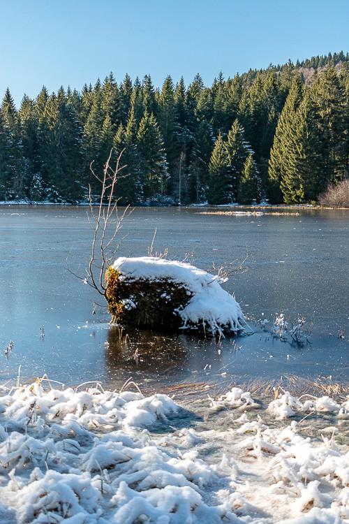 rocher au bord d'un lac gelé