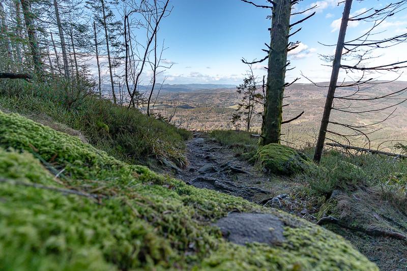 Sentier forestier au dessus des vallées