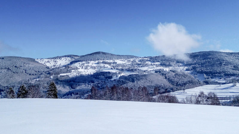 paysage de montagnes vu depuis une prairie recouverte de neige