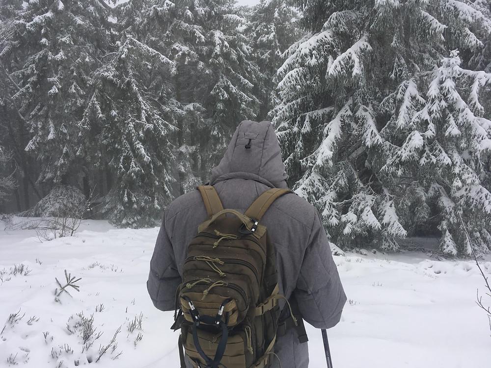 Un randonneur de dos dans environnement hivernal