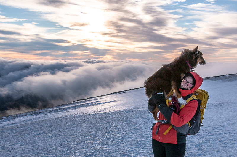 Randonneuse et son chien en montagne