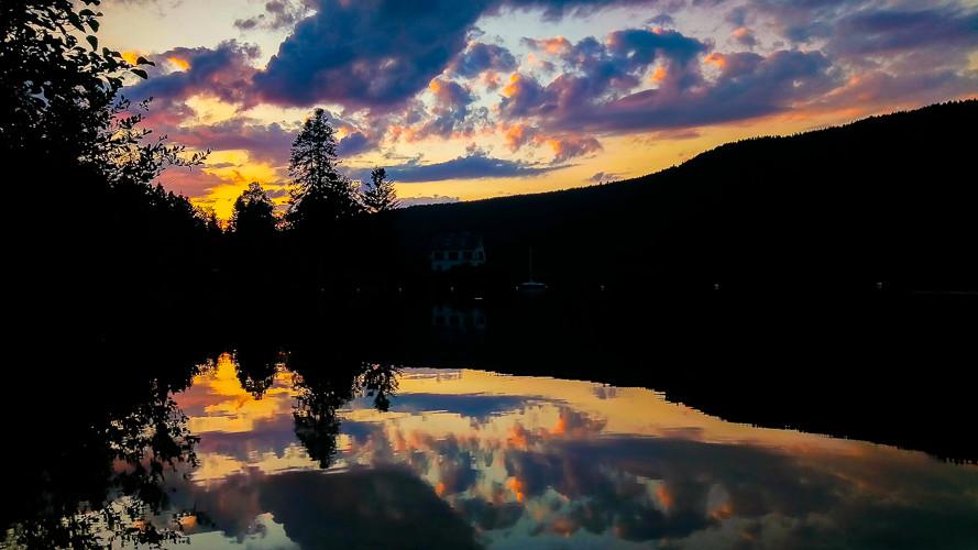 ombres chinoises d'arbres et de forêt sur un lac au coucher du soleil