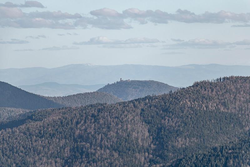 montagnes boisées et château fort