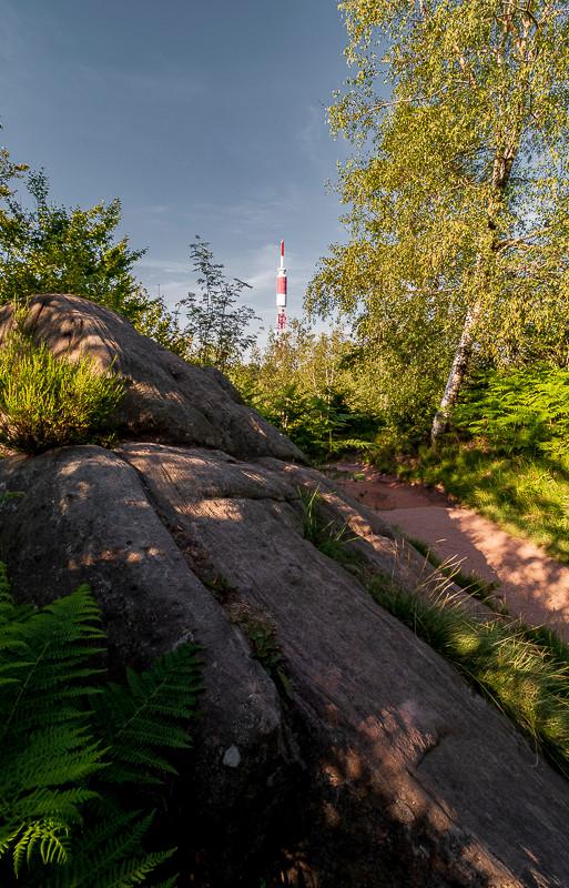 rocher sur un sentier avec un pylône en arrière plan