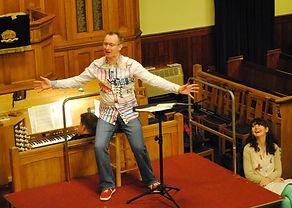 mid rehearsal of 'Carmina Burana' in Belfast