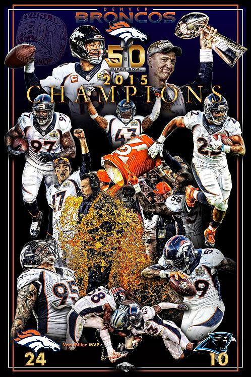 Denver Broncos 16x24 Super Bowl 50 Championship Poster (paper)