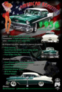 1956 Chevy BelAir display board, auto artwork, graphic design, autographix, custom posters, Echelon Graphix, car shows, car show boards, car show displays, auto montage, mustang, shelby, corvette, chevy, chevelle, muscle cars, street rods, classic cars