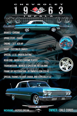 1963 Impala SS Display Board