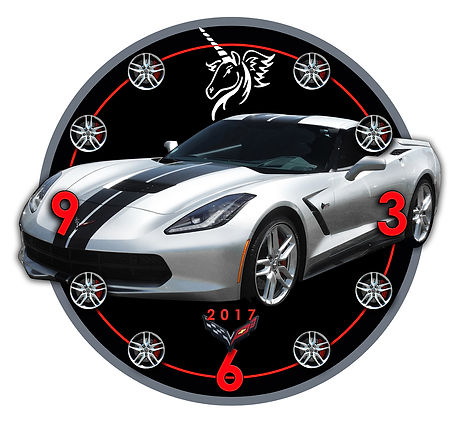 2017 Corvette Car Clock, car clocks, auto clocks, custom clock design, custom clocks