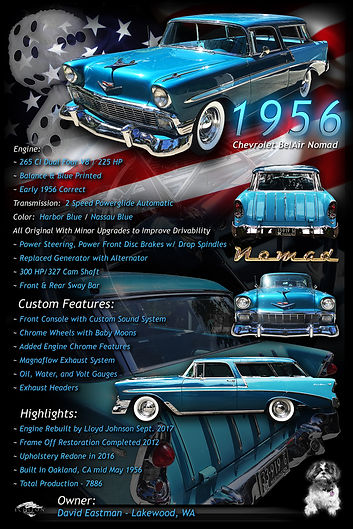 1956 Chevy Nomad display board, auto artwork, graphic design, autographix, custom posters, Echelon Graphix, car shows, car show boards, car show displays, auto montage, mustang, shelby, corvette, chevy, chevelle, muscle cars, street rods, classic cars