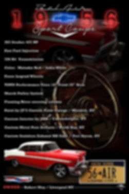 1956 Belair Display Board, car show display boards, auto artwork, graphic design, autographix, custom posters, Echelon Graphix, car shows, car show boards, car show displays, auto montage, mustang, shelby, corvette, chevy, chevelle, muscle cars, street rods, classic cars