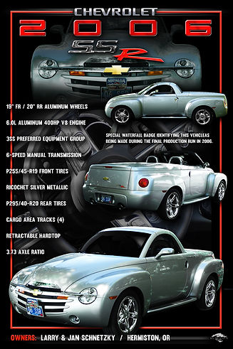 2006 Chevy SSR Display Board, Ford Display Boards, Mustang Display Boards, vintage automobile show boards, muscle car display boards, photographic artwork, classic car show display boards, display board ideas, photo artwork, Ratrod Display Board