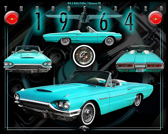 1964 T-Bird, auto artwork, graphic design, autographix, custom posters, Echelon Graphix, car shows, car show boards, car show displays, auto montage, mustang, shelby, corvette, chevy, chevelle, muscle cars, street rods, classic cars