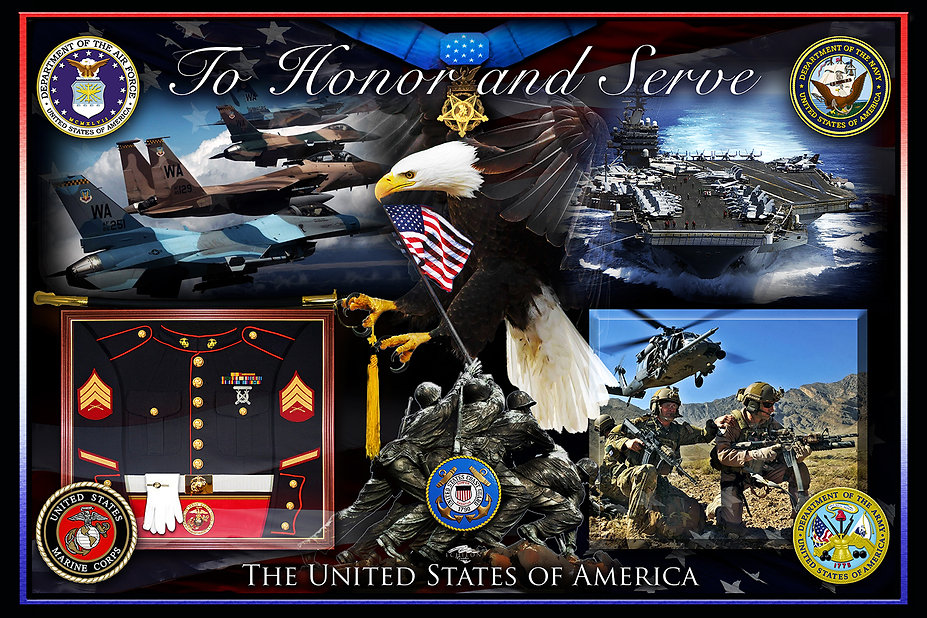 TO HONOR AND SERVE, Photographix Montage, photo memorials, photo artwork, photo blending, graphic design, logo design, nostalgic artwork, military artwork, posters, pet artwork, illustration