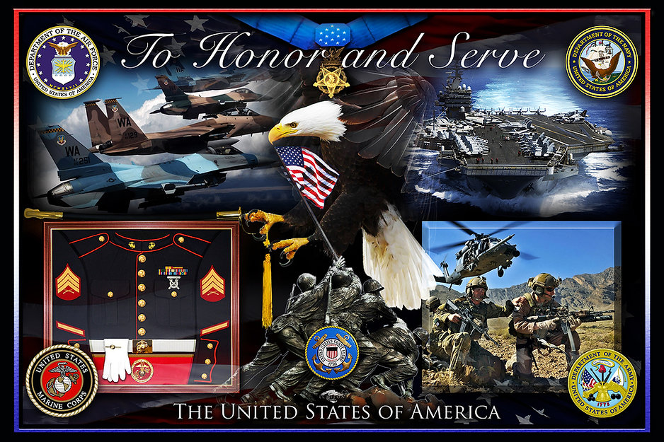 TO HONOR AND SERVE - Photographix Montage, photo memorials, photo artwork, photo blending, graphic design, logo design, nostalgic artwork, military artwork, posters, pet artwork, illustration
