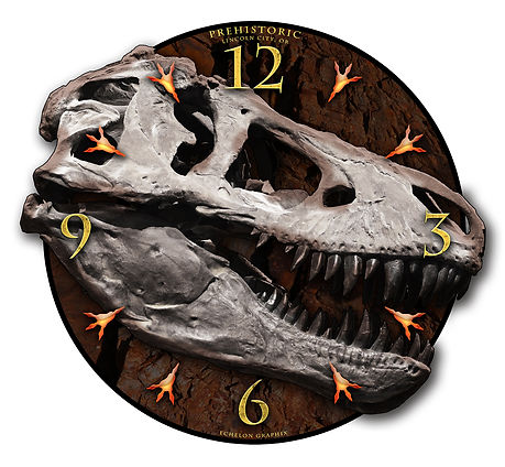 Dinosaur Clock, car clocks, auto clocks, custom clock design, custom clocks