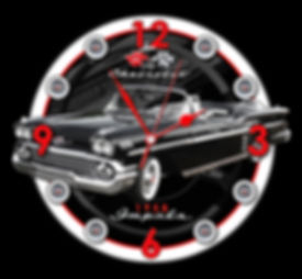 1958 Impala Car Clock, car clocks, auto clocks, custom clock design, custom clocks
