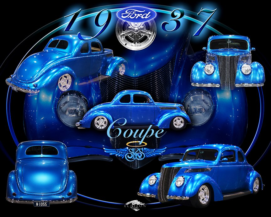 1937 Ford Coupe Autographix Montage