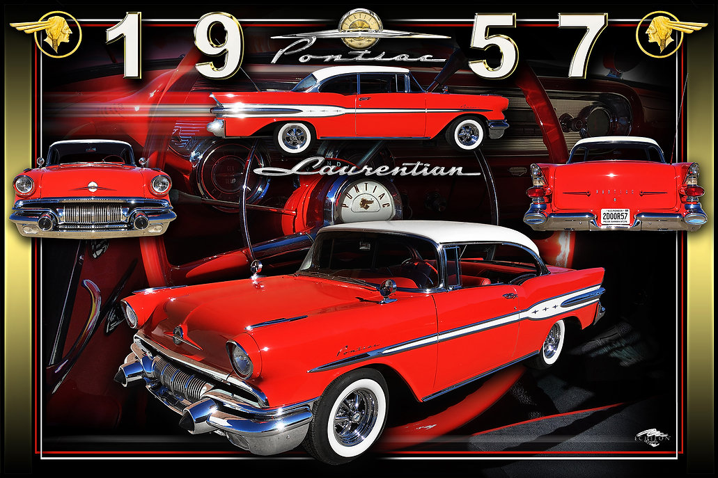1957 Pontiac montage, Motorcycle Display Boards, Mustang Display Boards, Display Boards, Corvette Displays, Corvette Boards, Corvette Signs, Corvette Artwork, Vintage Car Show Display Boards, Muscle Car Display Boards, Muscle Car Sign Boards, Ratrod Display Boards, photo artwork, Classic Car Show Display Boards, Classic Car Show Signage, Car Show Display Board Ideas, Automotive Artwork