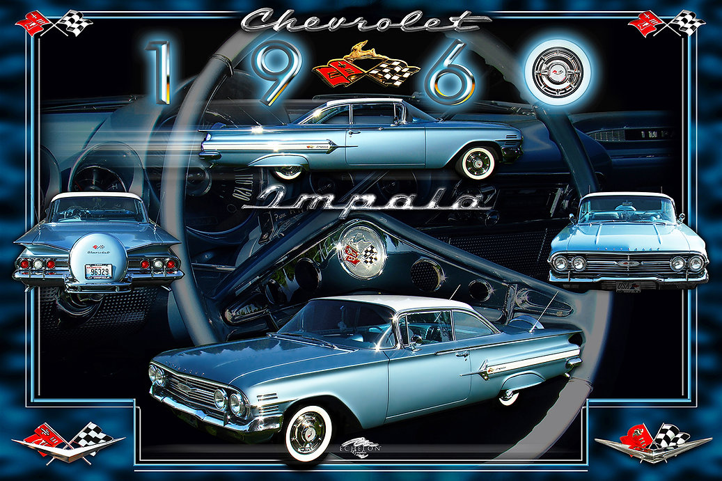 1960 Chevy Impala Autographix Montage, auto artwork, graphic design, autographix, custom posters, Echelon Graphix, car shows, car show boards, car show displays, auto montage, mustang, shelby, corvette, chevy, chevelle, muscle cars, street rods, classic cars