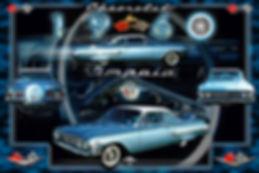 1960 Chevy Impala Autographix Montage, auto artwork, graphic design, autographix, custom posters, Echelon Graphix, car shows, car show boards, car show displays, auto montage, mustang, shelby, corvette, chevy, chevelle, muscle cars, street rods, classic cars