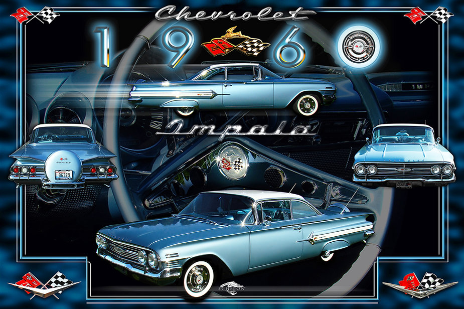 1960 Chevrolet Impala Display Board, car show display boards, auto artwork, graphic design, autographix, custom posters, Echelon Graphix, car shows, car show boards, car show displays, auto montage, mustang, shelby, corvette, chevy, chevelle, muscle cars, street rods, classic cars