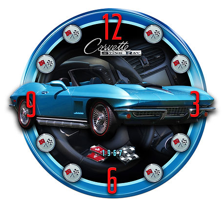 1967 Corvette Sting Ray Car Clock, car clocks, auto clocks, custom clock design, custom clocks
