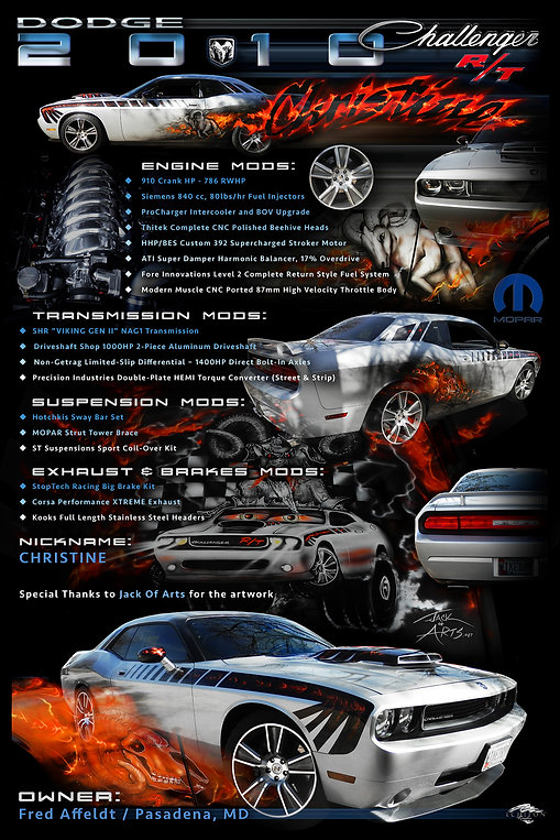 2010 Challenger Display Board, car show display boards, auto artwork, graphic design, autographix, custom posters, Echelon Graphix, car shows, car show boards, car show displays, auto montage, mustang, shelby, corvette, chevy, chevelle, muscle cars, street rods, classic cars