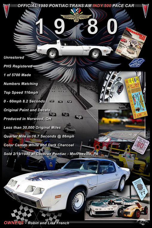 1980 Pontiac TransAm Display Board, car show display boards, auto artwork, graphic design, autographix, custom posters, Echelon Graphix, car shows, car show boards, car show displays, auto montage, mustang, shelby, corvette, chevy, chevelle, muscle cars, street rods, classic cars