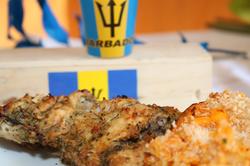 Bajan style chicken and mac pie