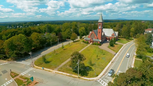 Aerial shot featuring church in Gardner