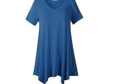 Steel Blue V-Neck Tunics