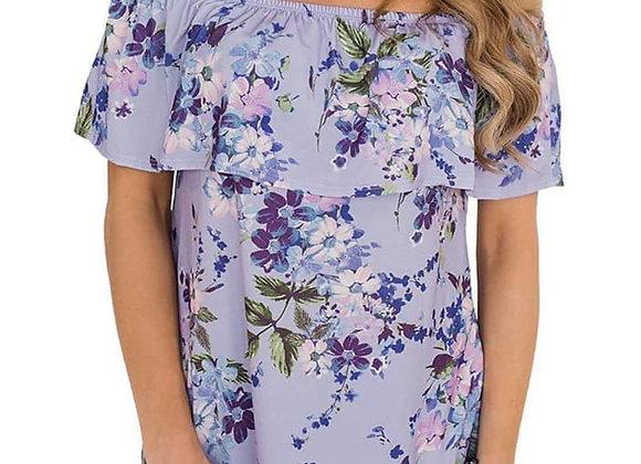 Off The Shoulder Floral Top - Lavender