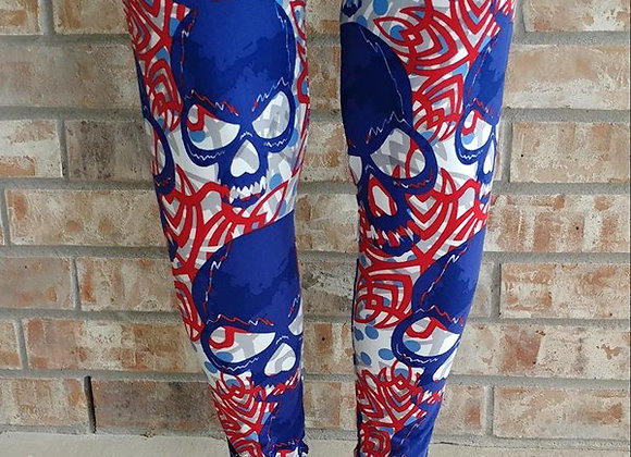 Red White and Blue Skulls