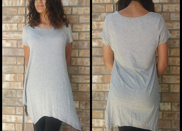 Heather Gray Shark Bite Tunic