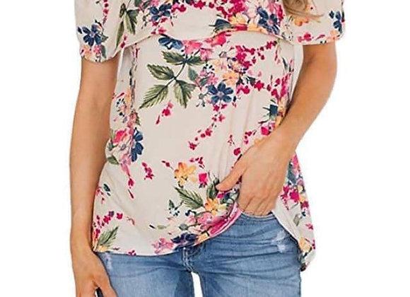 Off The Shoulder Floral Top - Beige