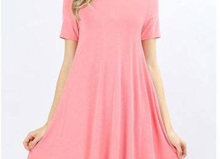 Rose Pink A Line Dress w/ Pockets