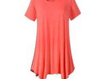 Coral Scoop Neck Tunic