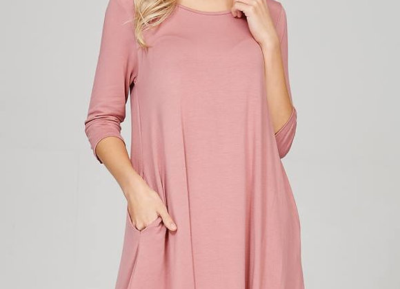 Dusty Pink Swing Dress