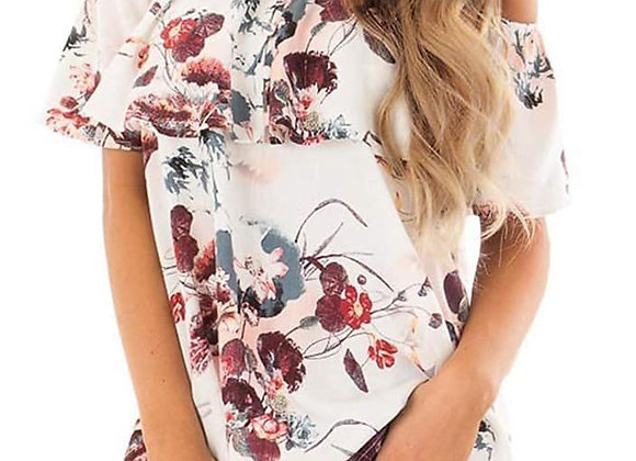 Off The Shoulder Floral Top - White