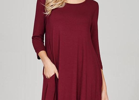 Burgundy Swing Dress