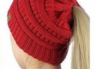 Red PonyTail Beanie Hat