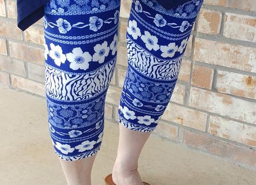 Blue Floral Capris