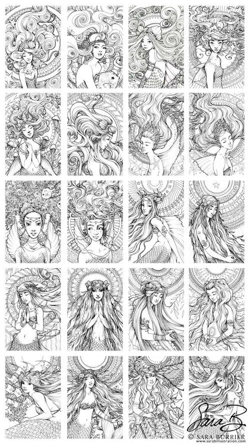 Portrait of a Mermaid Coloring Book