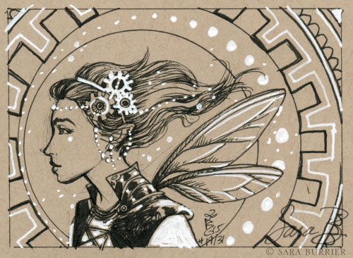 Steampunk Fairy Ink Drawing by Sara Burrier
