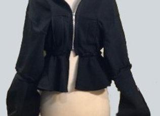 Cropped Peplum Stacked sleeve hoodie
